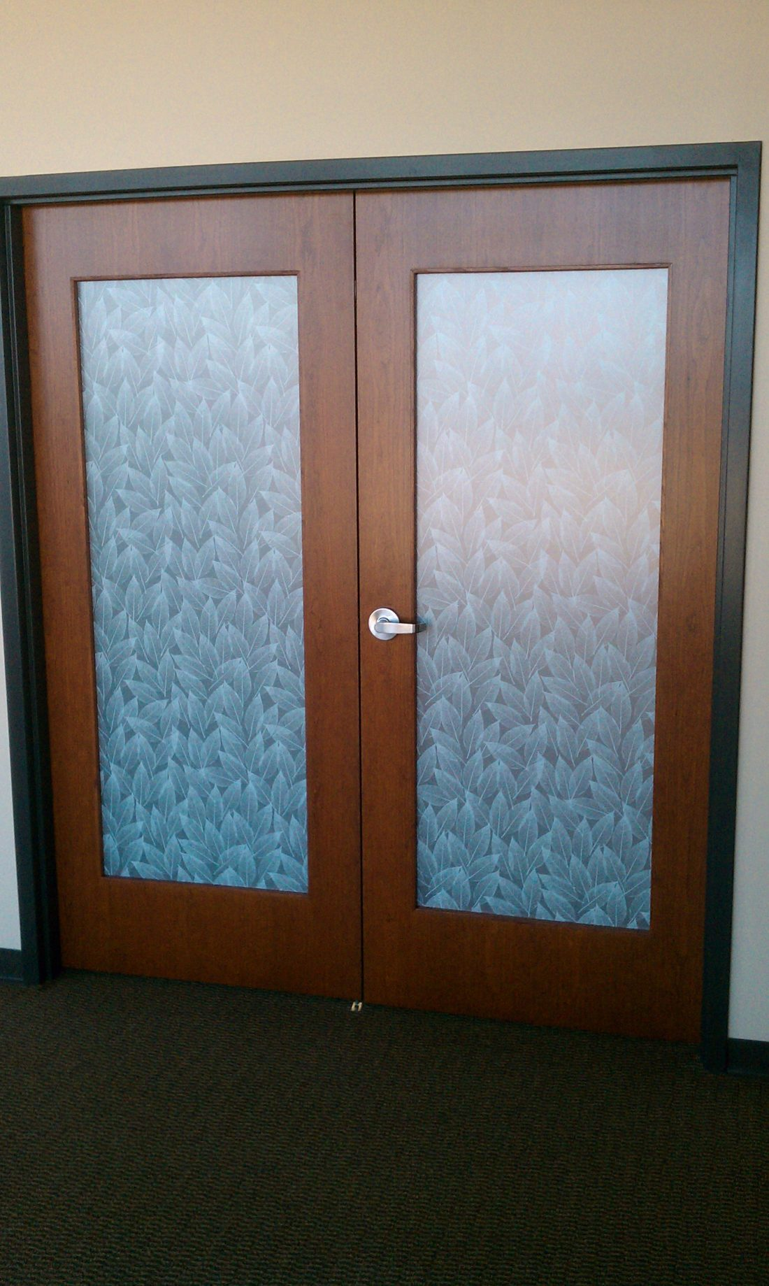 Decorative Window Film Transforms Plain Office Doors