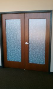 Decorative Window Film Transforms Plain Office Doors