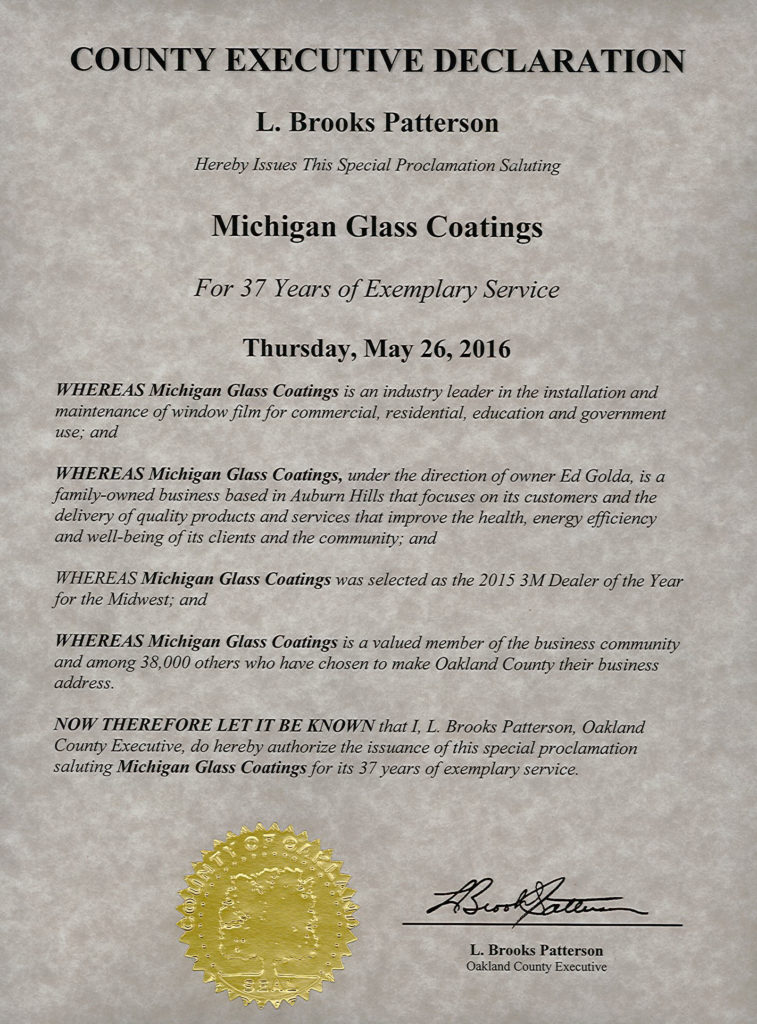 Oakland County, Michigan Special Proclamation for Michigan Glass Coatings 2