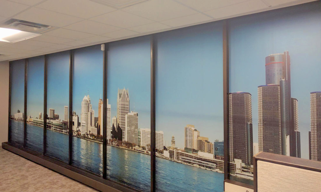 Detroit Client Dresses Up Their Offices with Custom Graphics of Skyline