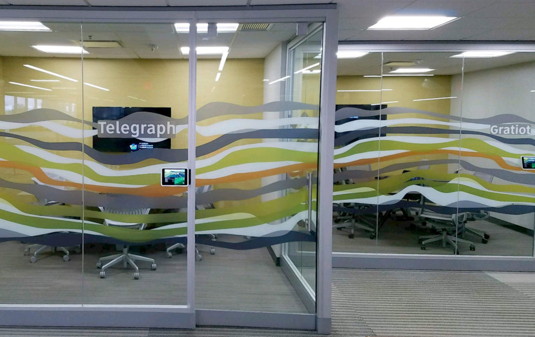 Custom Graphic Pattern Dresses up Conference Rooms for Client in Metro Detroit